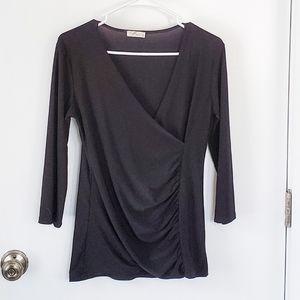 Prospect Blvd Black V-Neck 3/4 Sleeve Top